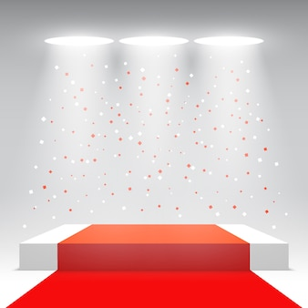 White podium with red carpet and confetti. stage for awards ceremony. pedestal.  illustration.
