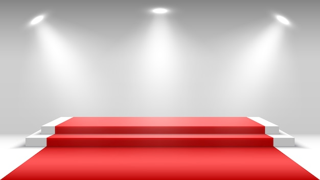 White podium with red carpet and spotlights. blank pedestal. stage for awards ceremony.