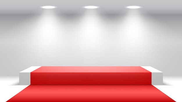 White podium with red carpet and spotlights. blank pedestal.