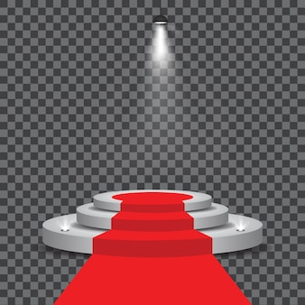 White podium with red carpet and spotlights