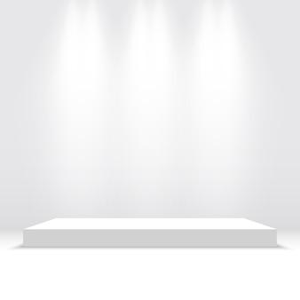スポットライトと白い表彰台。ペデスタル。プラットホーム。図。