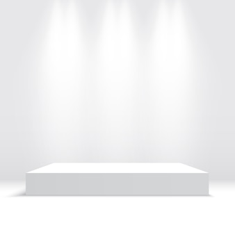 White podium with spotlights. pedestal. platform.  illustration.