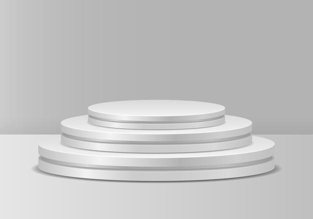 白い表彰台勝者のためのリアルな台座台座とプラットフォームスタンドステージシリンダー