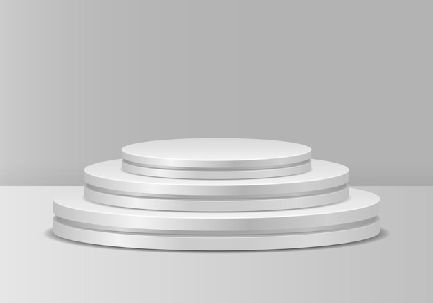 White podiums realistic pedestal for winners pedestal and platform stand stage cylinder