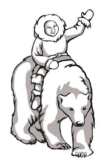 인쇄 또는 자수용 레이저 조각 마스코트에 적합한 흰색 북극곰 흑백 패턴