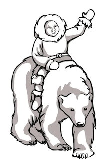 White polar bear black and white pattern suitable for laser engraving mascot for printing or embroidery