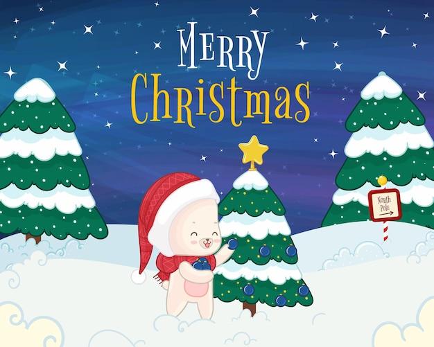 White polar bear decoring christmas tree christmas card