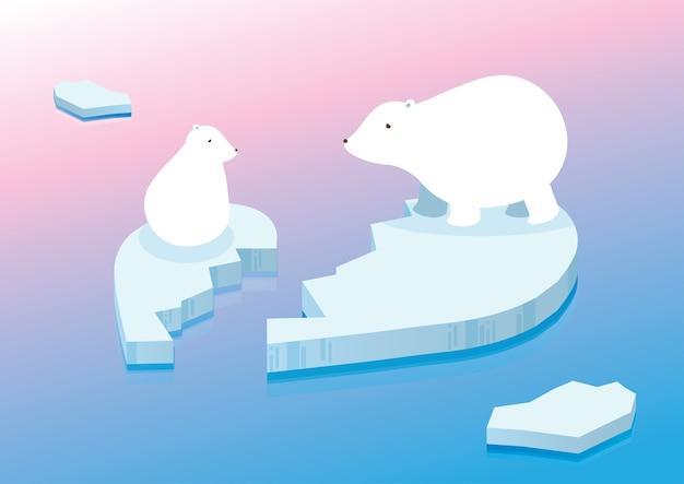 White polar bear on iceberg ocean