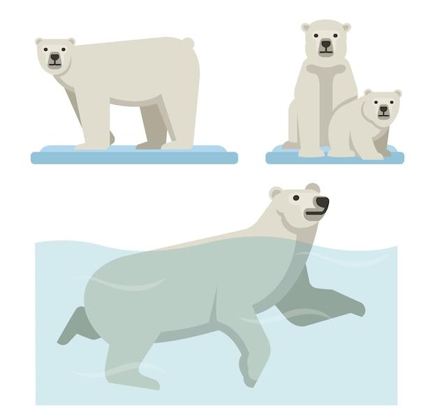 White polar bear set of wild life