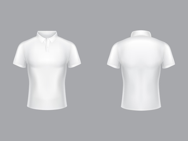White polo shirt 3d realistic illustration of tennis t-shirt with collar and short sleeves.