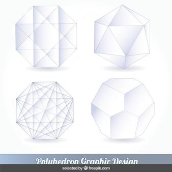 Белый комплект многогранник Бесплатные векторы