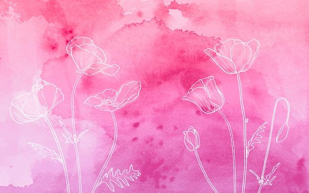 White poppies on watercolor background