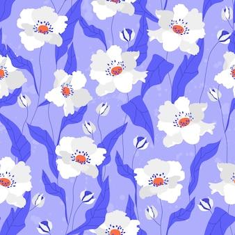 白いケシの花のシームレスなパターン。