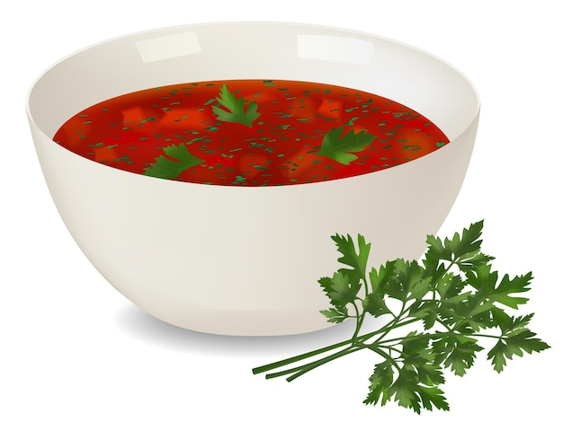 White porcelain bowl with red soup and parsley on white background. realistic style. vector illustration.