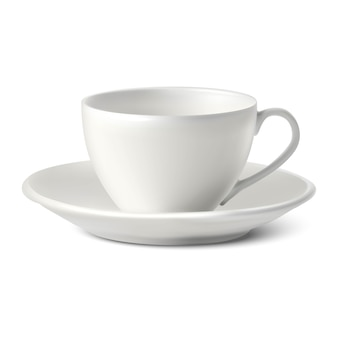 White porcelain cup with a plate on white background.