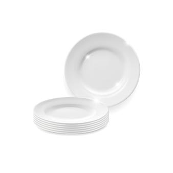 Макет круглого обеденного блюда из белой фарфоровой тарелки