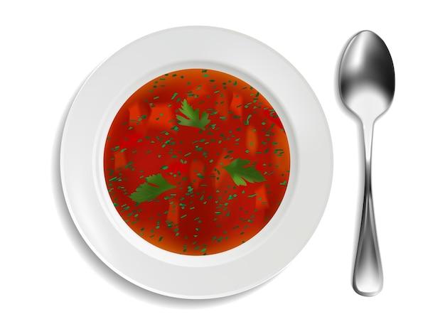흰색 바탕에 붉은 수프와 파슬리가 있는 흰색 도자기 접시. 현실적인 스타일. 벡터 일러스트 레이 션.