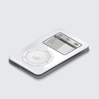 White portable music player on white background