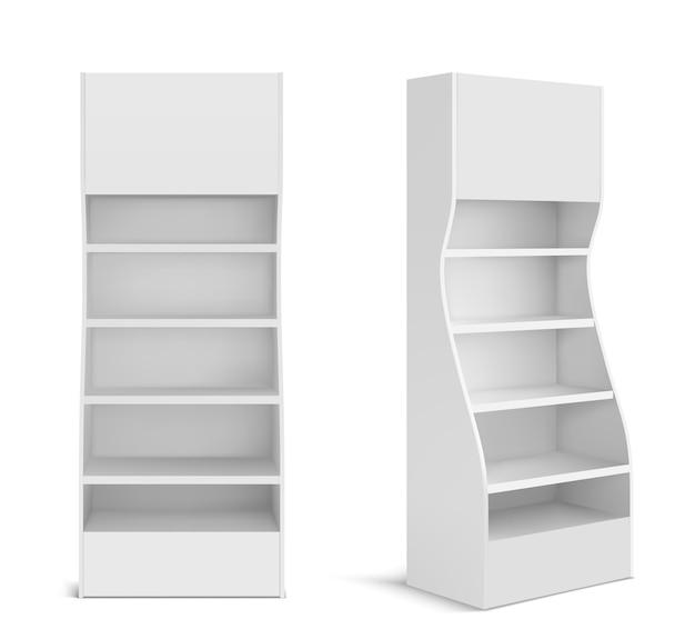 Espositore pos bianco per prodotti in supermercato, negozio e negozio. vettore 3d realistico del rack di promozione in bianco con scaffali vuoti, vetrina di vendita al dettaglio isolata