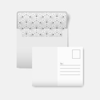 White postcard with a black geometric pattern