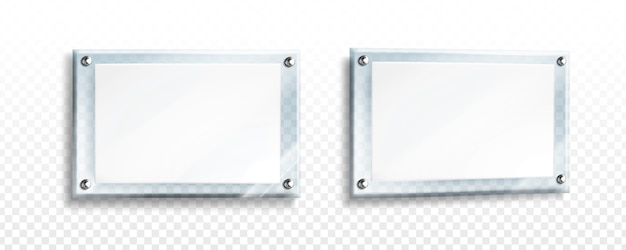 White poster in glass frame with steel bolts