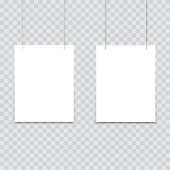 White poster hanging on binder.