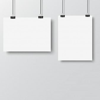 White poster hanging with binder on white background. vector