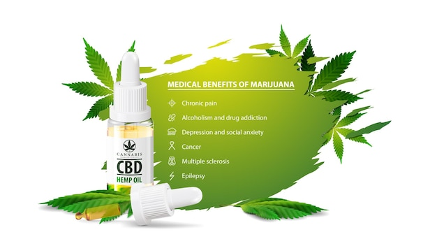 White poster with medical benefits of marijuana, white banner for website
