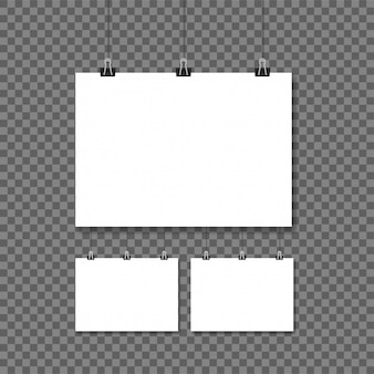 White posters hanging on binder transparent background