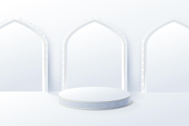 白い製品のディスプレイは、イスラムの内部モスクのドアでモックアップします。 3d表彰台。