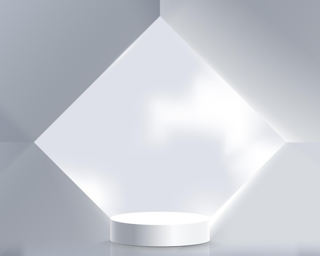 幾何学的な抽象的なアーキテクチャのインテリアと白い製品のディスプレイ。 3d表彰台。