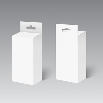 White product package box with hang slot