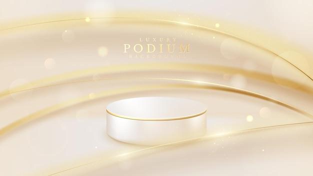 白い製品の表彰台と金色のぼかし線、豪華な背景、3dリアルなシーン。ベクトルイラスト。