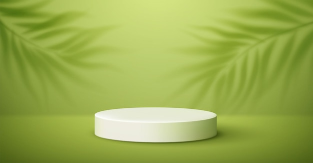 White product podium and tropical palm leaves shadow on green background