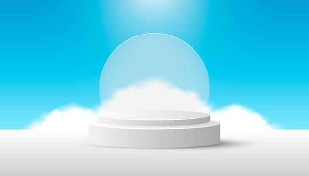 푸른 하늘에 구름과 유리가 있는 흰색 제품 연단. 웹 배너, 다이어그램, 인포 그래픽, 책 일러스트레이션, 소셜 미디어 및 기타 그래픽 자산에 적합