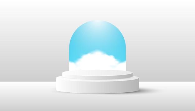 푸른 하늘에 구름과 흰색 제품 연단입니다. 웹 배너, 다이어그램, 인포 그래픽, 책 일러스트레이션, 소셜 미디어 및 기타 그래픽 자산에 적합