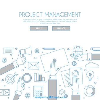 White project management concept in flat style