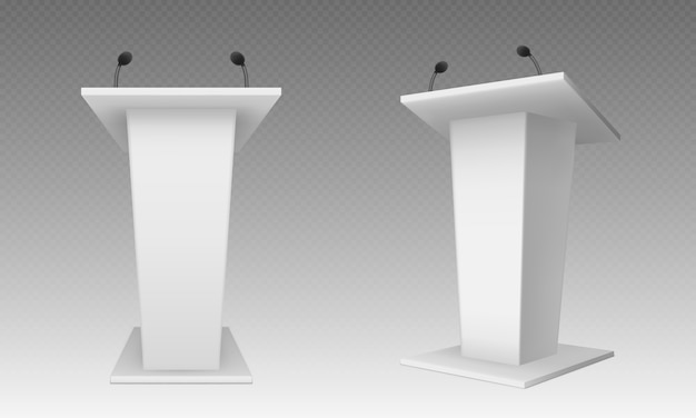 White pulpit, podium or tribune, rostrum stand