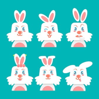 White rabbit face with different emotions