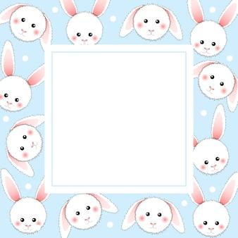 White rabbit on light blue banner card.