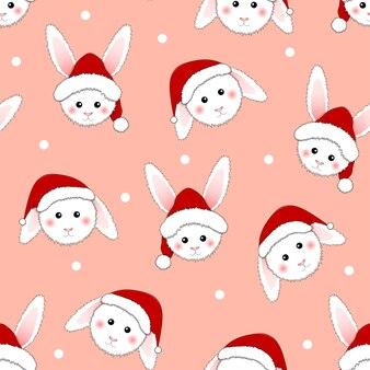 White rabbit santa claus on pink background.