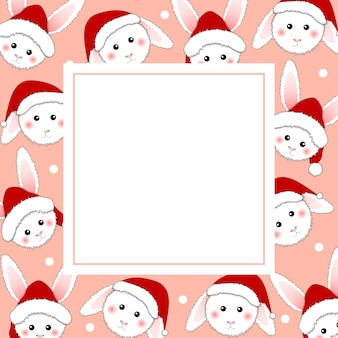 White rabbit santa claus on pink banner card.