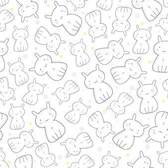 White rabbit seamless pattern , animal pattern