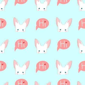 White rabbit sneaking on blue background