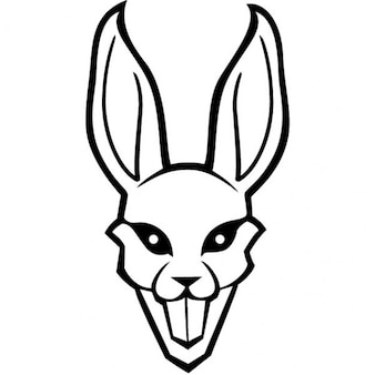 White rabbit with big teeth and ears
