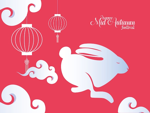 White rabbit with lanterns and clouds design, happy mid autumn harvest festival oriental chinese and celebration theme