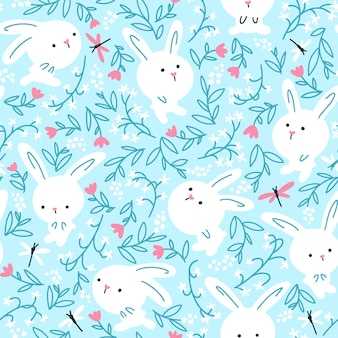 トンボのシームレスなパターンで夏の花の白いウサギ。青い背景の保育園のイラスト。