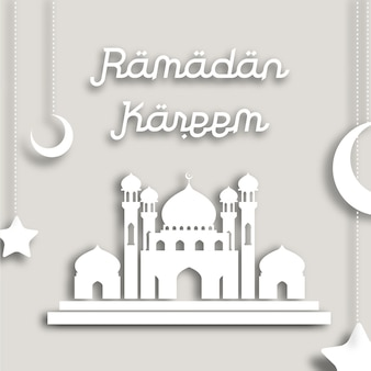 White ramadan kareem background