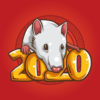 White rat zodiac illustration