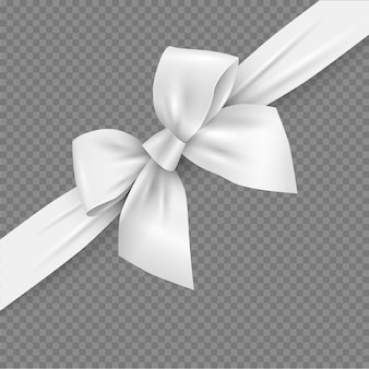 White realistic 3d bow and ribbon with clipping mask